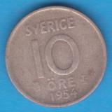 (3) MONEDA DIN ARGINT SUEDIA - 10 ORE 1954, LIT. TS, MODEL KM #823, Europa