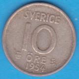 (2) MONEDA DIN ARGINT SUEDIA - 10 ORE 1954, LIT. TS, MODEL KM #823, Europa