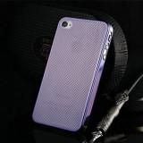 Husa/toc protectie iPhone 4, 4s 100% aluminiu perforat, 0.3 mm, nu piele, mov - Husa Telefon Apple, Metal / Aluminiu