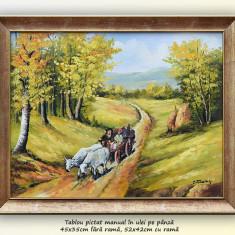 De la camp (2) - pictura peisaj rural, ulei pe panza cu rama, 52x42cm