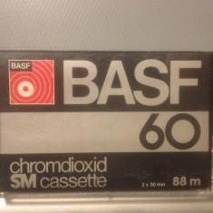 Casete Audio BASF Chromdioxid 60 min/88 m - SM - made in W.GERMANY - Casetofon