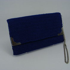 Geanta plic albastra de dama crosetata manual Buticcochet - Geanta Dama