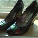 Pantofi piele lac marime 37 - Pantofi dama, Multicolor
