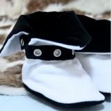 Cizmulite botez Micul Muschetar (Culoare: negru, Lungime talpa: 9 cm)