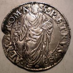 G.095 ITALIA VATICAN ROMA PAPA PIUS IV GIULIO SF. PETRU 1559 1565 ARGINT 3, 1g - Moneda Medievala, Europa