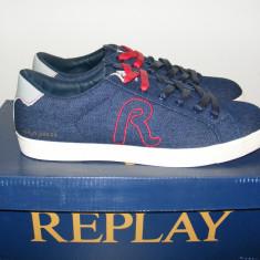 Adidasi Replay Mr Murray Denim Mens Trainers nr. 40 41 42 - Adidasi barbati Replay, Culoare: Albastru, Textil