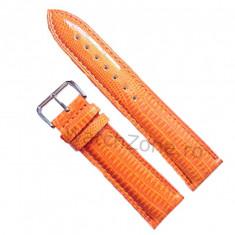 Curea de ceas Piele Portocalie Orange imp Crocodil Curea ceas 22mm Curea Orange - Curea ceas piele