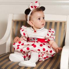 Botez - Rochita de ocazie pentru copii Minnie (Culoare: rosu, Imbracaminte pentru varsta: 2 ani - 92 cm, Model: buline)