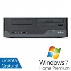Sisteme desktop fara monitor - Fujitsu E400 SFF, Intel Core i3-2120 3.3 Ghz, 4Gb DDR3, 160Gb SATA, DVD-ROM + Windows 7 Home Premium