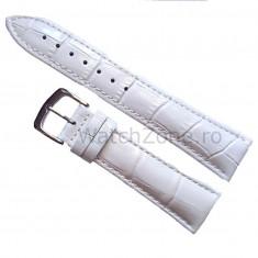 Curea ceas piele - Curea de ceas Piele Alba imprimeu Crocodil Curea ceas 20mm