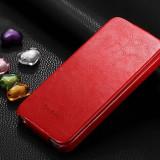 Husa / toc protectie piele fina iPhone 4 / 4s lux, tip flip cover, culoare ROSU - Husa Telefon