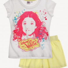 Pijama de vara Disney Violetta alb/galben