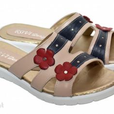 Papuci dama piele naturala crem cu floricele cod PP12 - Made in Romania, Marime: 36, 37, 38, 39, 40, 35, Culoare: Din imagine