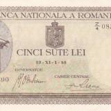 ROMANIA 500 lei 1940 - filigran orizontal AUNC!!!, An: 1940