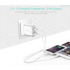 Incarcator retea Usams U2+ Dual USB Alb Oem