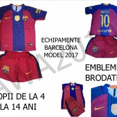 Set echipament fotbal Nike - ECHIPAMENTE FOTBAL BARCELONA, MODEL 2017, MARIMI 4-14 ANI, LIVRARE GRATUITA