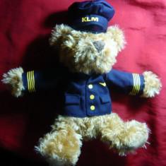 Papusa-Ursulet Capitan- Mascota KLM- Liniile Regale Aeriene Olandeze, h= 29 cm - Papusa de colectie
