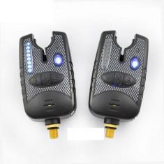 Set 2 Avertizori Senzori Marca FL Baterii 9 V 8 Leduri Semnal Pachet economic - Suport Pescuit