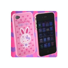 Husa tip capac plastic Hello Kitty roz + inimioare pentru telefon Apple iPhone 4/4S Blister - Bumper Telefon