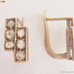 Cercei cu diamante - *** CERCEI vechi aur 18K cu diamante rose-cut** **