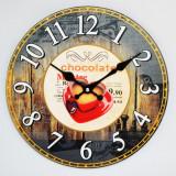 Ceas de perete din lemn - Love Hot Chocolate - Produs Nou