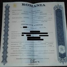 Vand Certificate de actionar la Automobile Dacia Pitesti