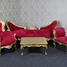 DCST04 - Set canapea, fotoliu, taburet si masuta cafea - clasice stil baroc, Canapea in stil baroc, Canapele fixe