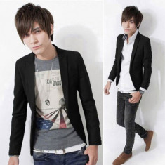 Sacou, blazer fashion barbati casual SLIM FIT XS si S poze reale alb sau negru - Sacou barbati, Marime: S, 1 nasture, Marime sacou: 40, Normal, Bumbac