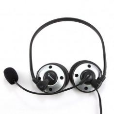 Casti cu microfon design pliabil, control volum, silver-black - Casti PC Gembird