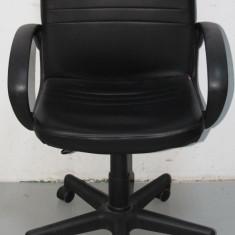 Scaun de birou ergonomic; Scaun Directorial; Fotoliu operational reglabil - Scaun birou, Piele ecologica, Negru