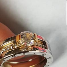 Inel bvlgari 2 culori suflat cu aur si aur alb - Inel placate cu aur