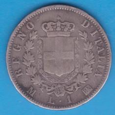 (1) MONEDA DIN ARGINT ITALIA - 1 LIRA 1867, M-BN, VITTORIO EMANUELE II, NECURATAT, Europa