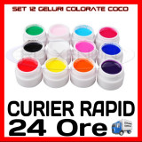 KIT SET 12 MODELE GEL GELURI COCO PT LAMPA UV COLOR COLORATE 5ML (8G)