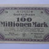 Germania 100 Millionen Mark 1923 Solingen VF+ - bancnota europa