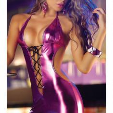 S144-5 Rochie sexy de club, din vinil, model decupat - Rochie de club, Marime: S/M