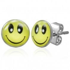 Cercei din oțel cu închidere cu șurub, față zâmbitoare galbenă - Cercei inox