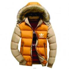 Geaca Adidas iarna cu gluga si blana galbena maneci crem - Geaca barbati Adidas, Marime: XXL