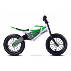 Bicicleta din lemn fara pedale Enduro Green Toyz - Bicicleta copii Toyz, 12 inch
