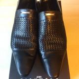 Pantofi barbati gala John Richmond, Marime: 42, Piele naturala, Negru