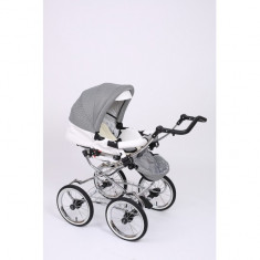 Carucior 2 in 1 Whicker Classic Color 5 Baby-Merc - Carucior copii 2 in 1 Baby-Merc, Alb