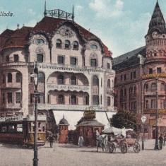 ORADEA, HOTEL FEKETE, TRAMVAI, CARUTA, ANIMATA, CIRCULATA 1916 - Carte Postala Crisana 1904-1918, Printata