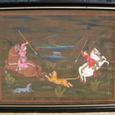Tablou Vanatoare de tigru in Caucaz pictura in ulei 48x61 cm