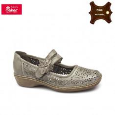 Pantofi dama piele naturala RIEKER bej (Marime: 36) - Pantof dama