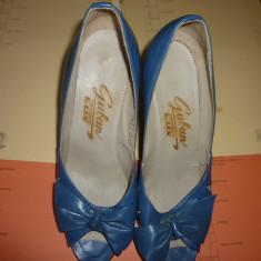 Pantofi cu toc Guban - Pantof dama Guban, Marime: 25 1/3, Culoare: Bleu, Piele naturala