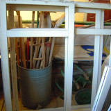 GEAM (fereastra) termopan GEALAN L=142xH=154 cm, geam cu dubla deschidere, alb