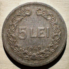 1.536 ROMANIA RPR 5 LEI 1949 - Moneda Romania, Aluminiu