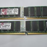 Memorie 1GB DDR400 DIMM, Kingston KVR400 (2x512MB) Dual Channel, 100% testate