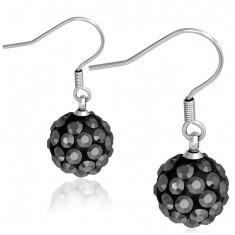 Cercei din oțel 316L, Shamballa, bile negre, zirconii metalice - Cercei inox