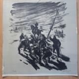 "LITOGRAFIE MARCEL CHIRNOAGA ""1907"" - Pictor roman, Abstract, Cerneala"