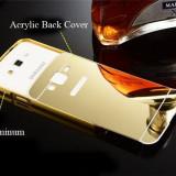 Samsung Core Prime - Bumper Case Rama Aluminiu Capac Plastic Auriu Oglinda - Bumper Telefon